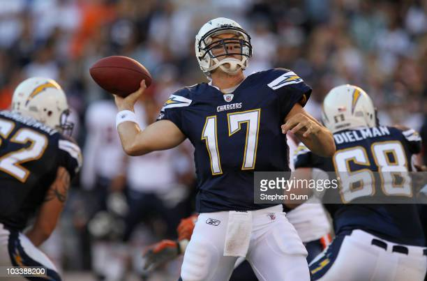 Quarterback Philip Rivers of the San Diego Chargers throws a 28 yard touchdown pass in the first quarter against the Chicago Bears on August 14 2010...