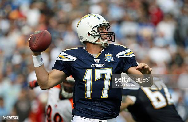 Quarterback Philip Rivers of the San Diego Chargers throws the ball against the Cincinnati Bengals during the NFL game on December 20 2009 at...