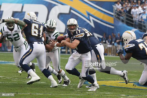 Quarterback Phillip Rivers of the San Diego Chargers turns to hand off the ball against the New York Jets when the Chargers host the Jets in the...