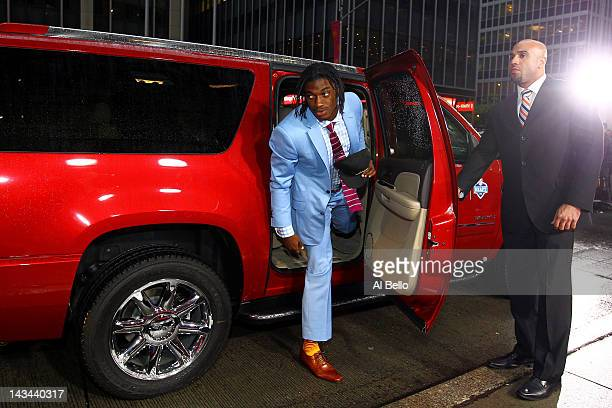 Quarterback prospect Robert Griffin III from Baylor arrives on the red carpet during the 2012 NFL Draft at Radio City Music Hall on April 26 2012 in...