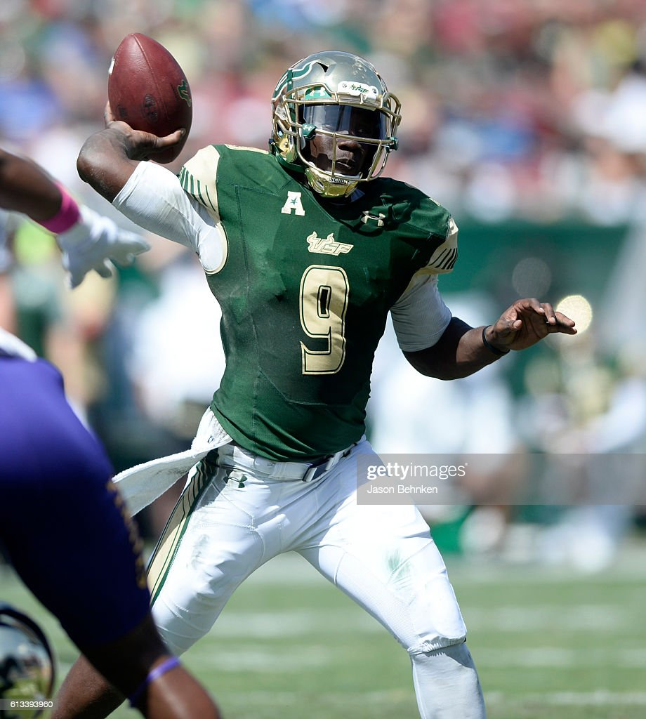 Quarterback Quinton Flowers #9 of the South Florida Bulls throws a pass against the East Carolina Pirates during the 1st quarter at Raymond James Stadium on October 8, 2016 in Tampa, Florida.
