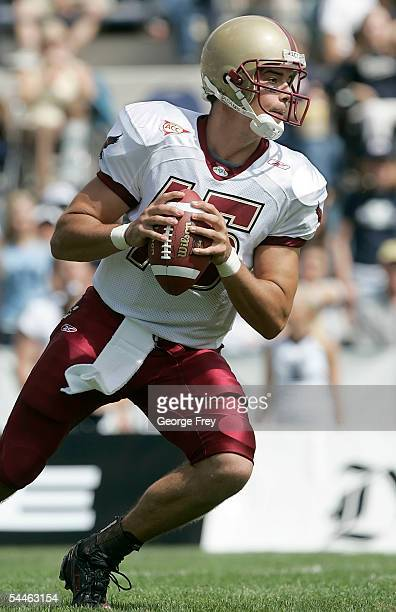 Quarterback Quinton Porter of the Boston College Eagles looks to pass the ball against the Brigham Young Cougars on September 3, 2005 at LaVell...