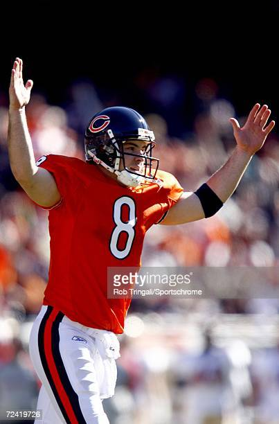 Quarterback Rex Grossman of the Chicago Bears celebates after a 1st quarter touchdown against the San Francisco 49ers on October 29, 2006 at Soldier...