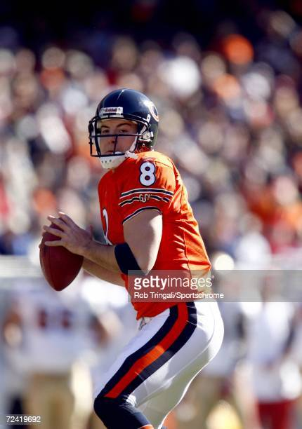 Quarterback Rex Grossman of the Chicago Bears goes back to pass against the San Francisco 49ers on October 29, 2006 at Soldier Field in Chicago,...