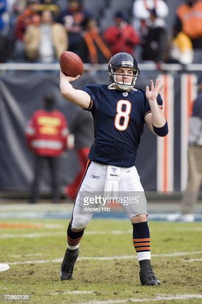 Quarterback Rex Grossman of the Chicago Bears practices before a game against the Tampa Bay Buccaneers at Soldier Field on December 17 2006 in...