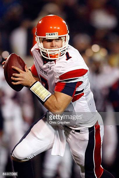 Quarterback Rhett Bomar of the North Team During looks to throw a pass against the South Tema during the Under Armour Senior Bowl on January 24 2009...