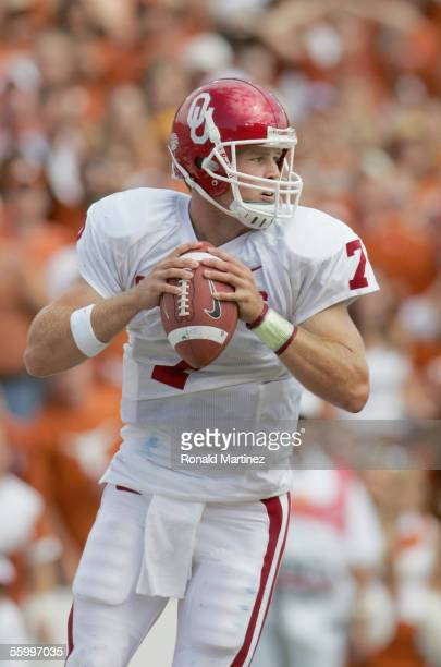 Quarterback Rhett Bomar of the Oklahoma Sooners drops back to pass against the Texas Longhorns on October 8 2005 at the Cotton Bowl in Dallas Texas...