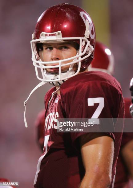 Quarterback Rhett Bomar of the Oklahoma Sooners looks on during the game against the Kansas State Wildcats on October 1 2005 at Memorial Stadium in...