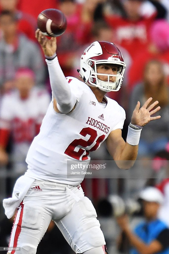Quarterback Richard Lagow #21 of the Indiana Hoosiers throws a pass against the Ohio State Buckeyes in the fourth quarter at Ohio Stadium on October 8, 2016 in Columbus, Ohio. Ohio State defeated Indiana 38-17.