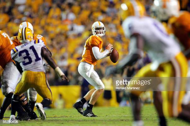 Quarterback Rick Clausen of the Tennessee Volunteers throws against the LSU Tigers in fourth quarter action September 26 2005 at Tiger Stadium in...