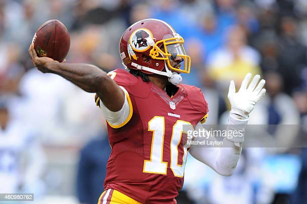 Quarterback Robert Griffin III of the Washington Redskins throws a pass during a NFL football game against the Dallas Cowboys at FedExField on...