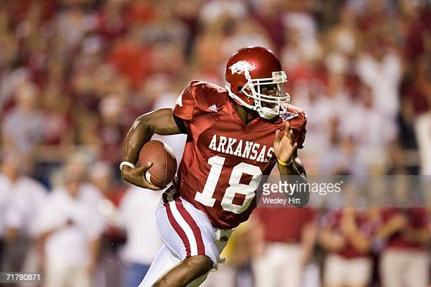 Quarterback Robert Johnson of the Arkansas Razorbacks runs with the ball during a game against the USC Trojans on September 2, 2006 at Donald W....