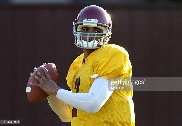 USC quarterback Rocky Hinds drops back to pass during spring football practice at Howard Jones Field on the campus of the University of Southern...