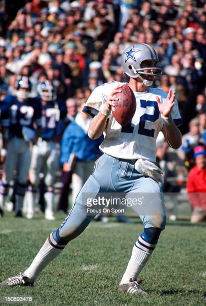 Quarterback Roger Staubach of Dallas Cowboys drops back to pass against the New York Giants during an NFL football game at Yankee Stadium September...
