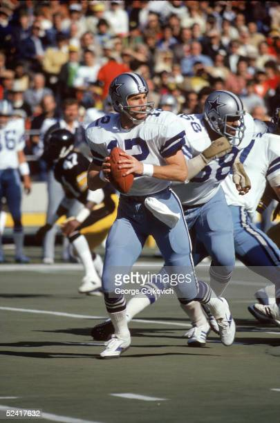 Quarterback Roger Staubach of the Dallas Cowboys drops back to pass during an NFL game against the Pittsburgh Steelers on October 28 1979 at Three...