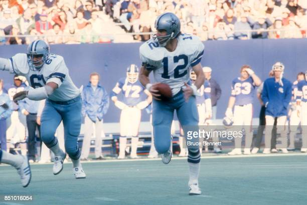 Quarterback Roger Staubach of the Dallas Cowboys runs with the ball during an NFL game against the New York Giants on November 4 1979 at Giants...