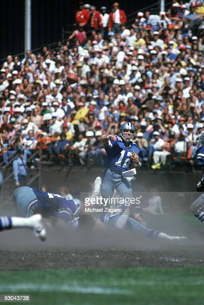 Quarterback Roger Staubach of the Dallas Cowboys throws a pass during a game against the San Francisco 49ers at Candlestick Park on September 9 1979...