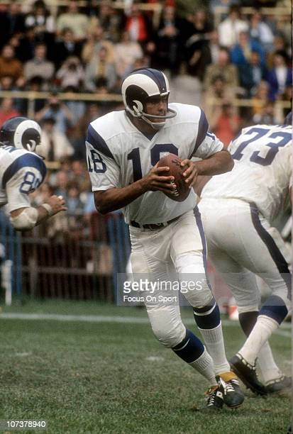 Quarterback Roman Gabriel of the Los Angeles Rams drops back to pass against the Buffalo Bills during an NFL football game at War Memorial Stadium...