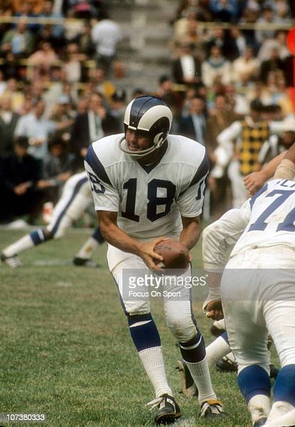 Quarterback Roman Gabriel of the Los Angeles Rams turns to hand the ball off to a running back against the Buffalo Bills during an NFL football game...