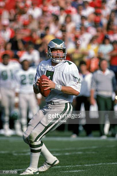Quarterback Ron Jaworski of the Philadelphia Eagles looks down field for a receiver during a game against the San Francisco 49ers at Candlestick Park...