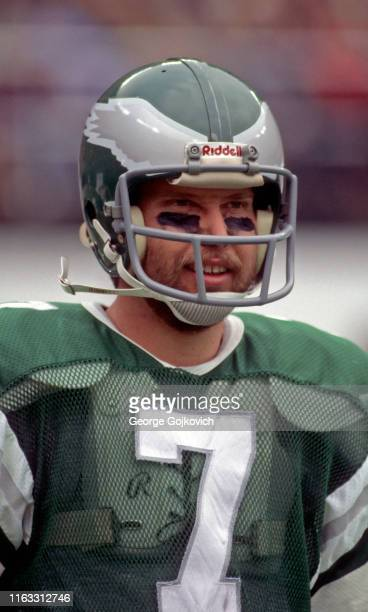 Quarterback Ron Jaworski of the Philadelphia Eagles looks on from the sideline during a National Football League game at Veterans Stadium circa 1979...