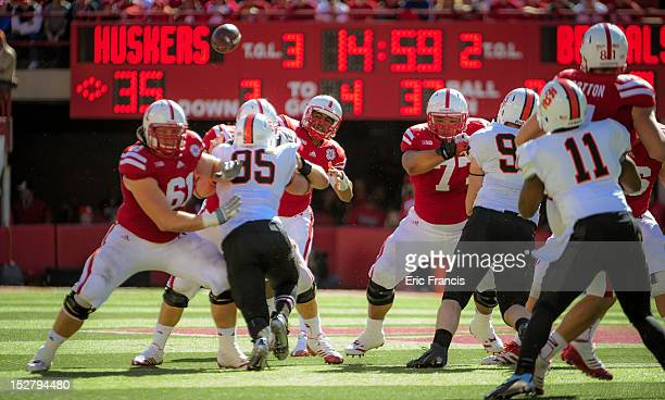 Quarterback Ron Kellogg III of the Nebraska Cornhuskers throws over the Idaho State Bengal defense during their game at Memorial Stadium on September...