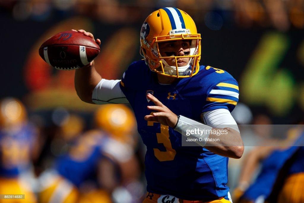 Quarterback Ross Bowers #3 of the California Golden Bears passes against the USC Trojans during the first quarter at California Memorial Stadium on September 23, 2017 in Berkeley, California.