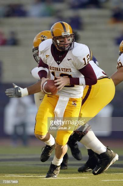 Quarterback Rudy Carpenter of the Arizona State Sun Devils runs with the ball during the game against the Washington Huskies on October 28 2006 at...
