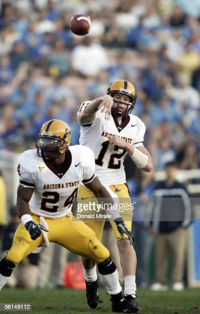 Quarterback Rudy Carpenter of the Arizona State Sun Devils throws a pass against the UCLA Bruins during the first half of their PAC-10 Conference...
