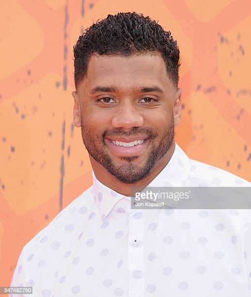 NFL quarterback Russell Wilson arrives at Nickelodeon Kids' Choice Sports Awards 2016 at UCLA's Pauley Pavilion on July 14 2016 in Westwood California