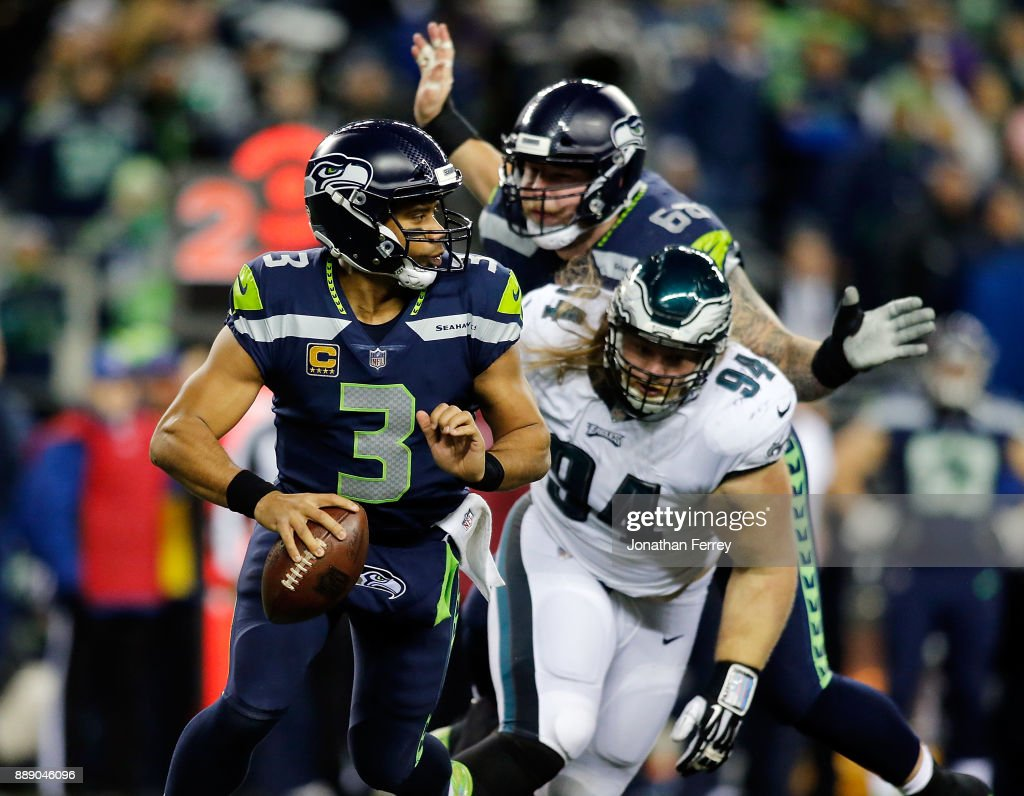 Quarterback Russell Wilson #3 of the Seattle Seahawks in action against the Philadelphia Eagles at CenturyLink Field on December 3, 2017 in Seattle, Washington.