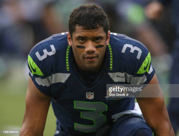 Quarterback Russell Wilson of the Seattle Seahawks looks on prior to the game against the Arizona Cardinals at CenturyLink Field on December 9 2012...