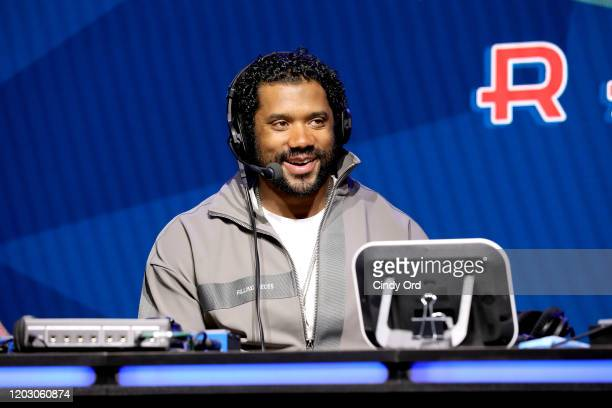 NFL quarterback Russell Wilson of the Seattle Seahawks speaks onstage during day 2 of SiriusXM at Super Bowl LIV on January 30 2020 in Miami Florida