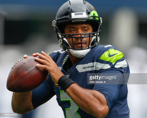 Quarterback Russell Wilson of the Seattle Seahawks warms up prior to the game against the Cincinnati Bengals at CenturyLink Field on September 8 2019...
