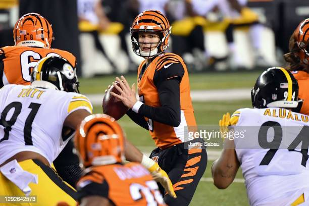 Quarterback Ryan Finley of the Cincinnati Bengals passes against the Pittsburgh Steelers at Paul Brown Stadium on December 21, 2020 in Cincinnati,...