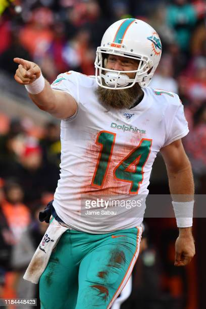Quarterback Ryan Fitzpatrick of the Miami Dolphins celebrates after scoring on an 8-yard touchdown run in the third quarter against the Cleveland...