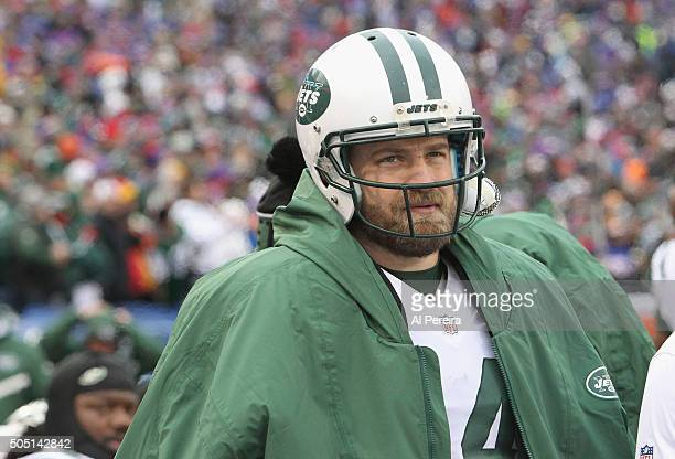 Quarterback Ryan Fitzpatrick of the New York Jets follows the action against the Buffalo Bills at Ralph Wilson Stadium on January 3 2016 in Orchard...