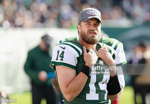 Quarterback Ryan Fitzpatrick of the New York Jets looks on while playing agianst the Baltimore Ravens in the second half at MetLife Stadium on...