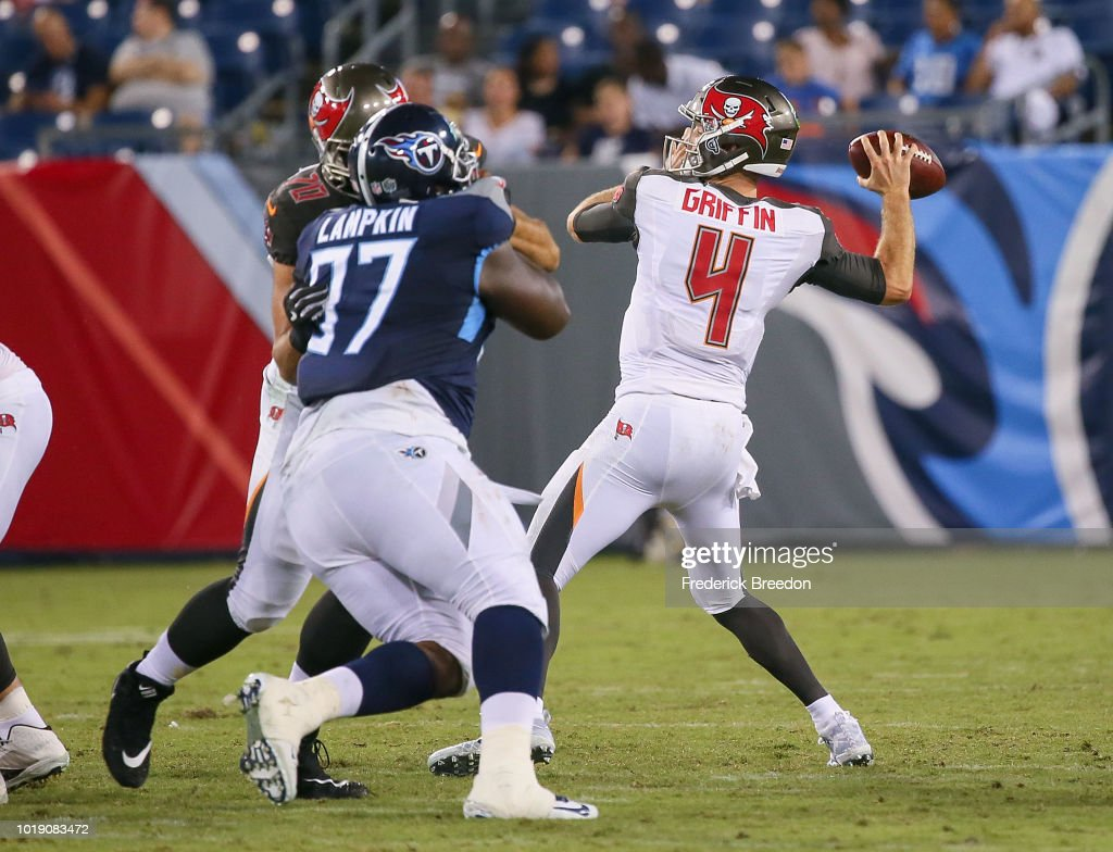 Quarterback Ryan Griffin #4 of the Tampa Bay Buccaneers throws a pass against the Tennessee Titans during the second half of a pre-season game at Nissan Stadium on August 18, 2018 in Nashville, Tennessee.