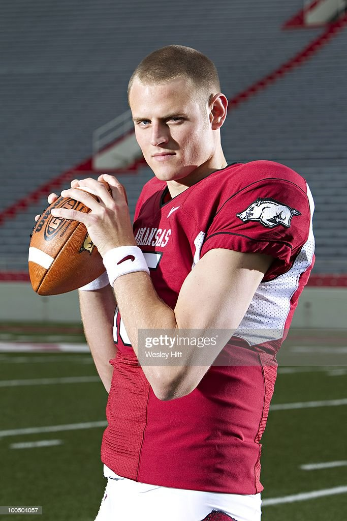 Quarterback Ryan Mallett #15 of the Arkansas Razorbacks poses for a photo on May 19, 2010 in Fayetteville, Arkansas.