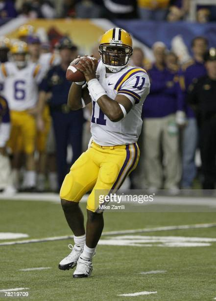 Quarterback Ryan Perrilloux of the LSU Tigers drops back to pass during the SEC Championship game against the Tennessee Volunteers on December 1,...
