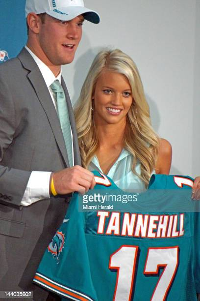 Quarterback Ryan Tannehill the Miami Dolphins' firstround draft pick appears at a news conference on April 28 at the team's facility in Davie Florida...