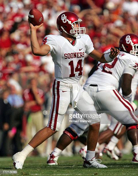 Quarterback Sam Bradford of the Oklahoma Sooners drops back to pass against the Texas Longhorns at the Cotton Bowl October 6 2007 in Dallas Texas