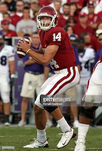 Quarterback Sam Bradford of the Oklahoma Sooners drops back to pass against the TCU Horned Frogs at Oklahoma Memorial Stadium on September 27, 2008...