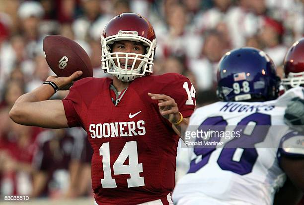 Quarterback Sam Bradford of the Oklahoma Sooners drops back to pass against the TCU Horned Frogs at Oklahoma Memorial Stadium on September 27, 2008...