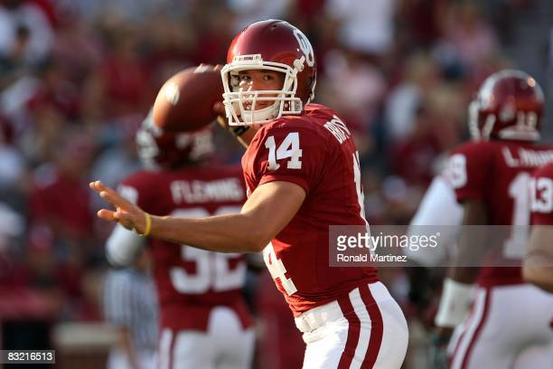 Quarterback Sam Bradford of the Oklahoma Sooners during play against the TCU Horned Frogs at Oklahoma Memorial Stadium on September 27 2008 in Norman...