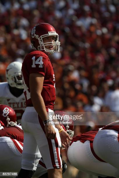 Quarterback Sam Bradford of the Oklahoma Sooners during play against the Texas Longhorns during the Red River Rivalry at the Cotton Bowl on October...