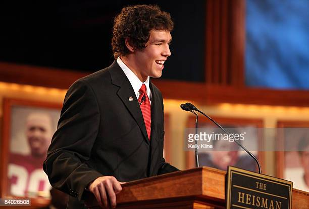 Quarterback Sam Bradford of the University of Oklahoma speaks on stage after being named the 74th Heisman Trophy winner on on December 13 2008 in New...