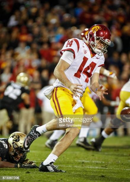 USC quarterback Sam Darnold chases after a ball he had knocked out of his hands during the Colorado Buffalos game versus the USC Trojans on November...
