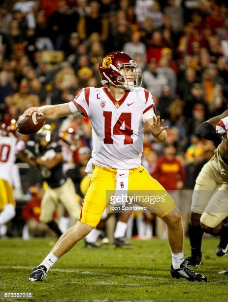 USC quarterback Sam Darnold drops back to pass during the Colorado Buffalos game versus the USC Trojans on November 11 at Folsom Field in Boulder Co...
